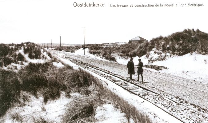 Oostduinkerke travaux de construction nouvelle ligne électrique